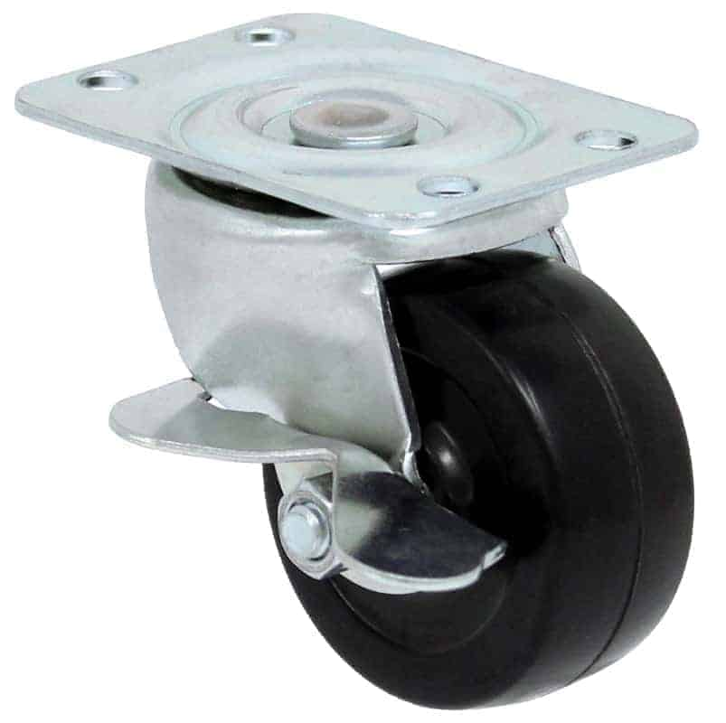 3″ Swivel Hard Rubber With Brake Top Plate 3-1/8″ x 4-1/8″
