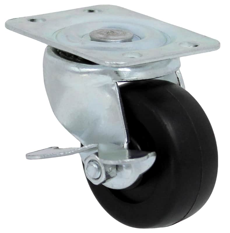 2″ Swivel Soft Rubber With Brake Top Plate 1-7/8″ x 2-9/16″ PSQ20112ZN-3R-B