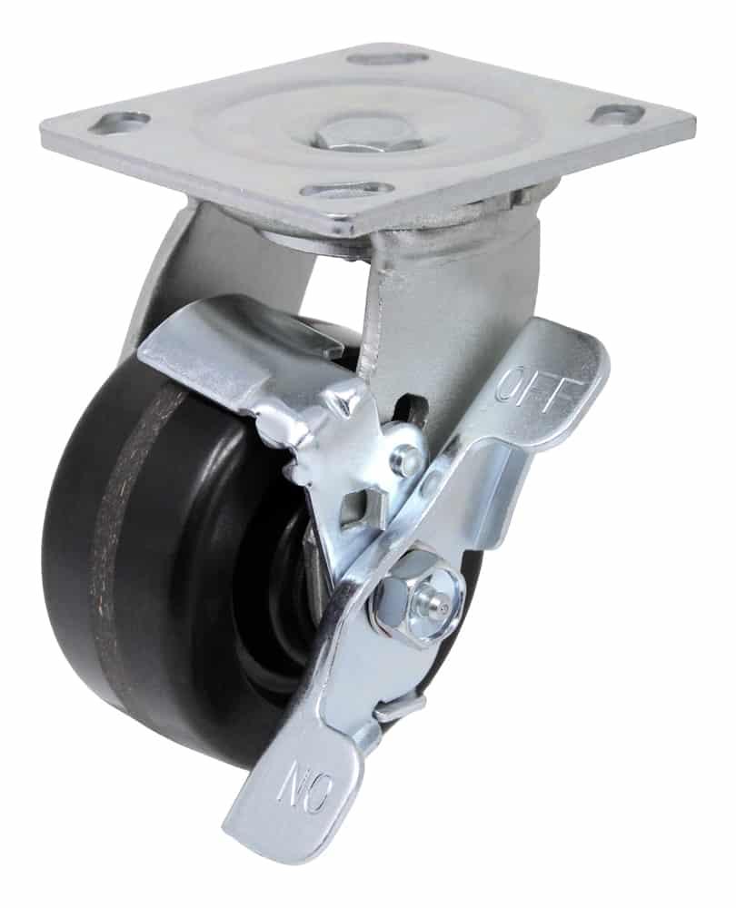 4″ Swivel Phenolic With Brake Top Plate 4″ x 4-1/2″