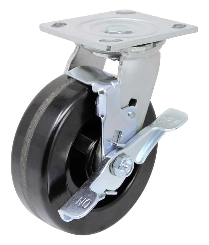 8″ Swivel Phenolic With Brake Top Plate 4″ x 4-1/2″