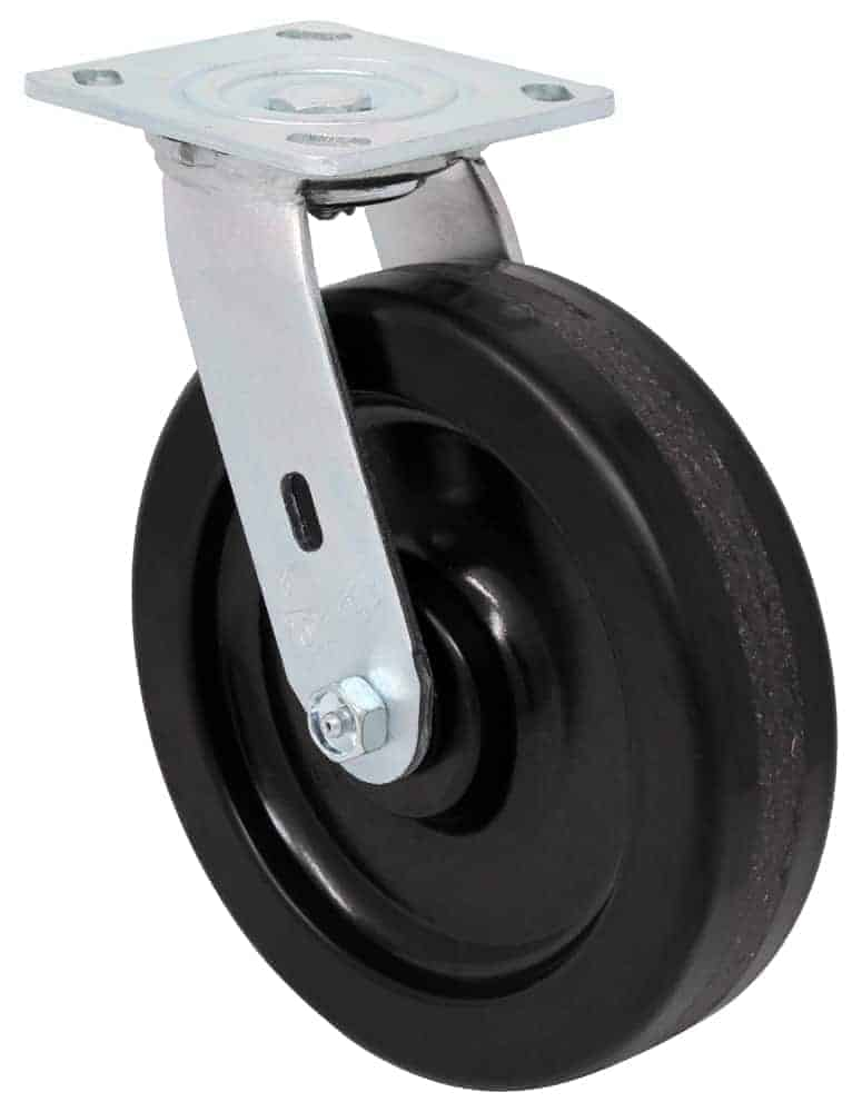 8″ Swivel Phenolic With Brake Top Plate 4″ x 4-1/2″