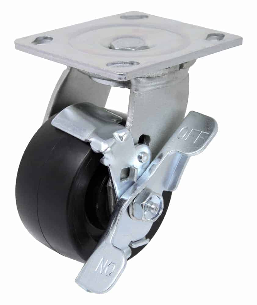 """Swivel Polyolefin Caster with 4"""" x 4-1/2"""" Top Plate and Brake"""