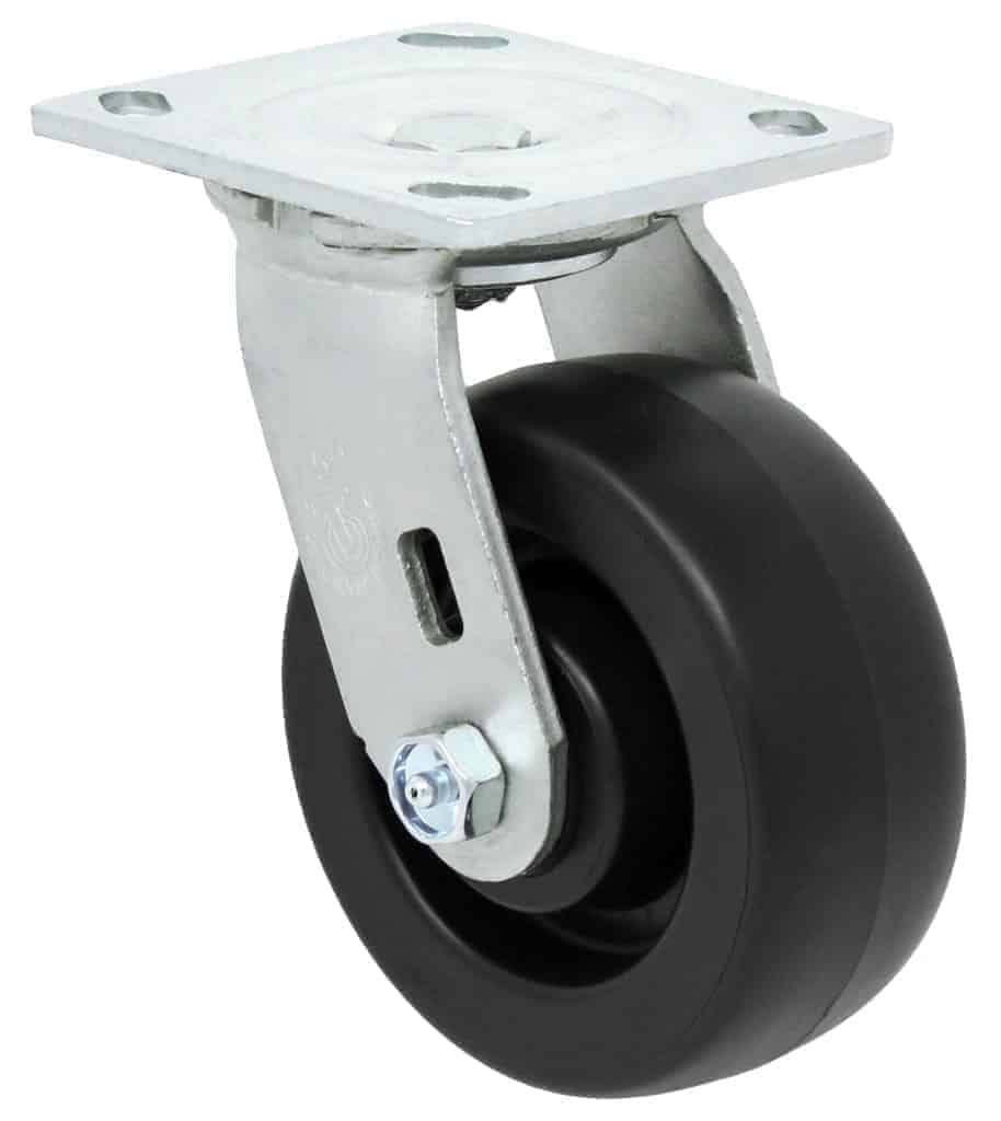 5″ Swivel Polyolefin With Brake Top Plate 4″ x 4-1/2″