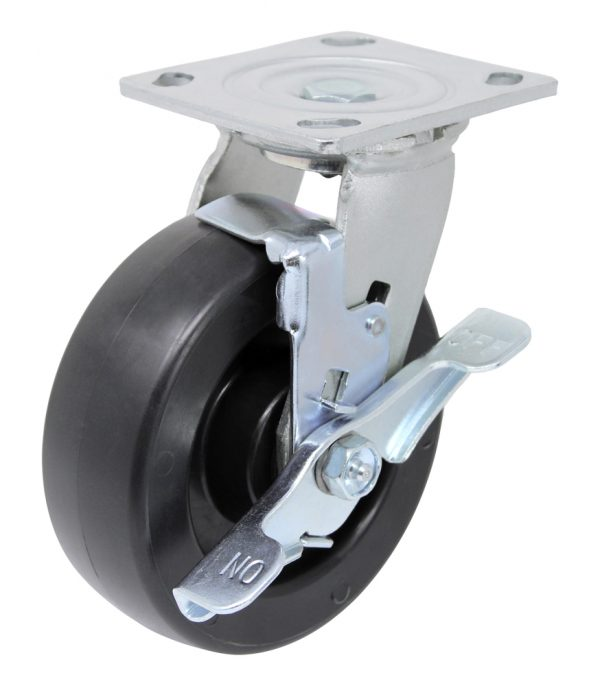"""Swivel Polyolefin Caster 4"""" x 4-1/2"""" Top Plate and Brake"""