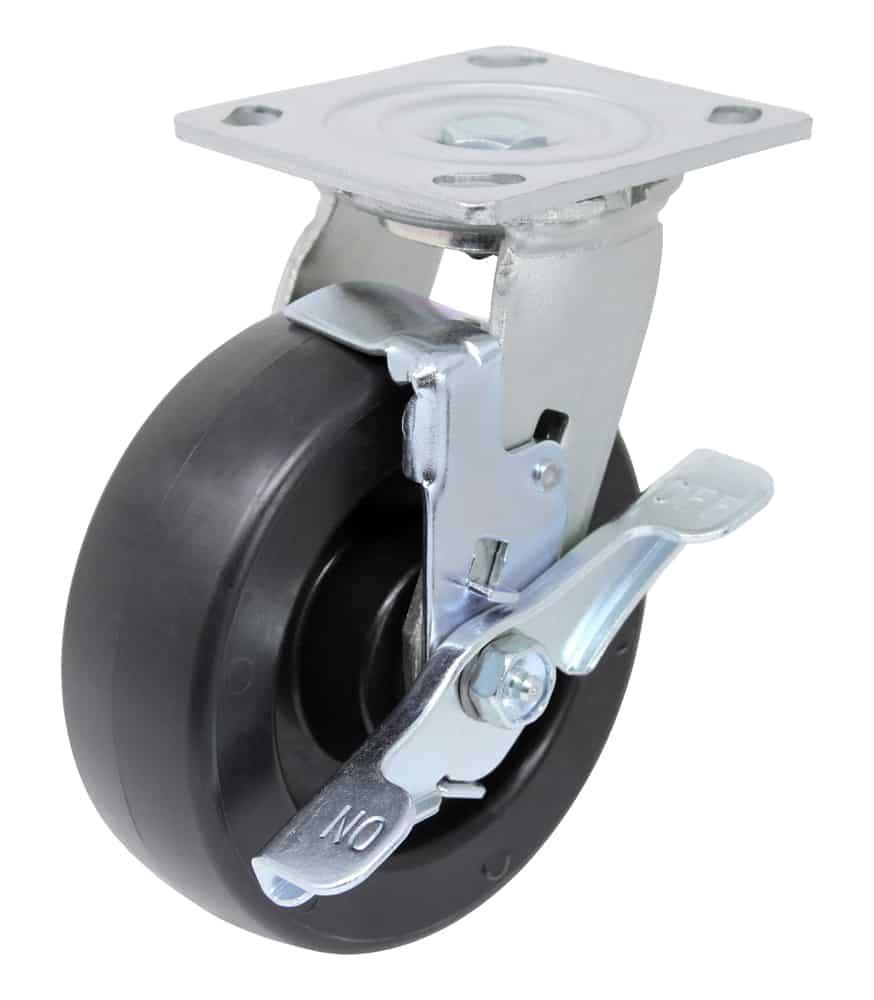 8″ Swivel Polyolefin With Brake Top Plate 4″ x 4-1/2″