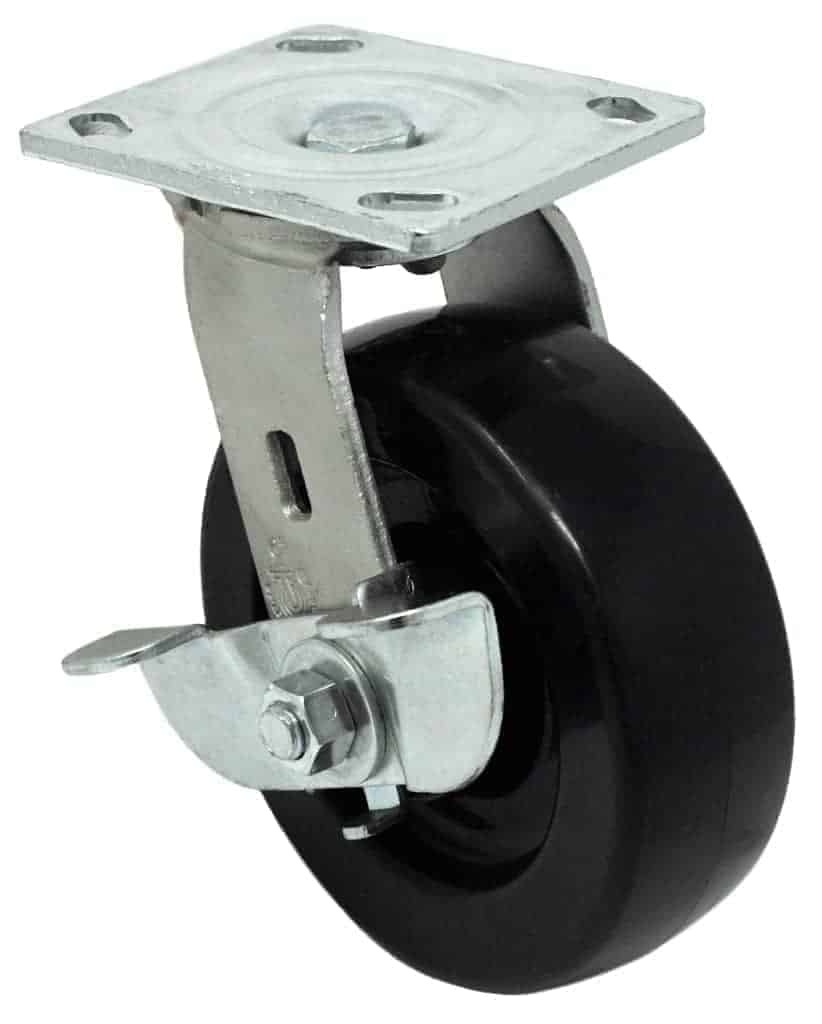 6″ Swivel Polyolefin With Brake Top Plate 4″ x 4-1/2″