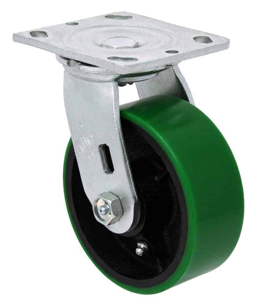 5″ Swivel Poly/Steel With Brake Top Plate 4″ x 4-1/2″