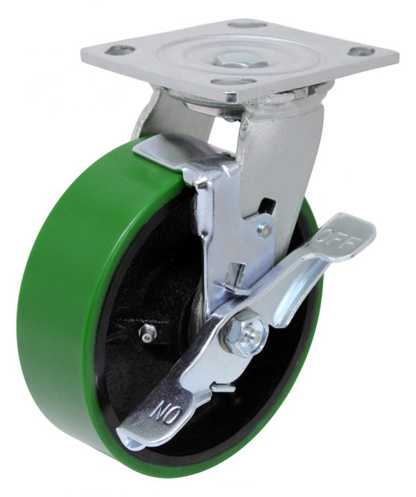 """Swivel Poly Steel 4"""" x 4-1/2"""" Top Plate with Brake"""