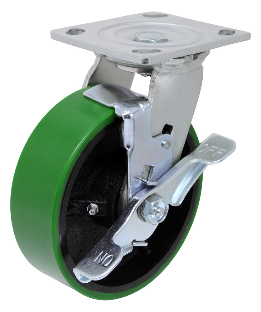 8″ Swivel Poly Steel With Brake Top Plate 4″ x 4-1/2″