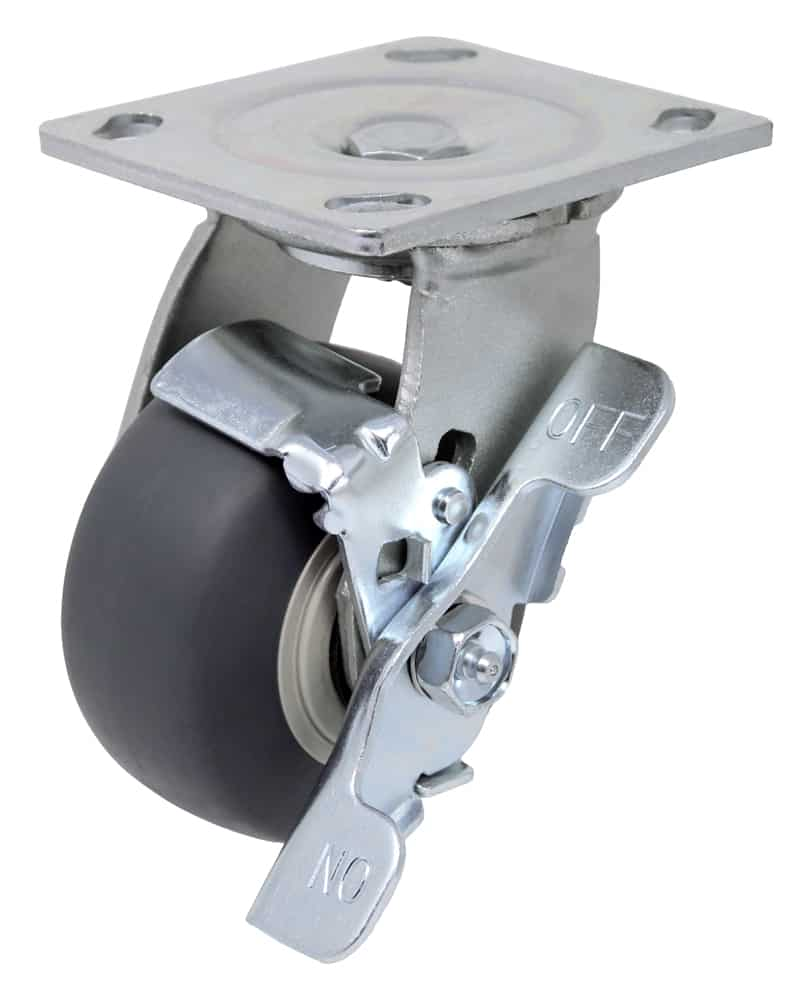 5″ Swivel Non Marking With Brake Top Plate 4″ x 4-1/2″