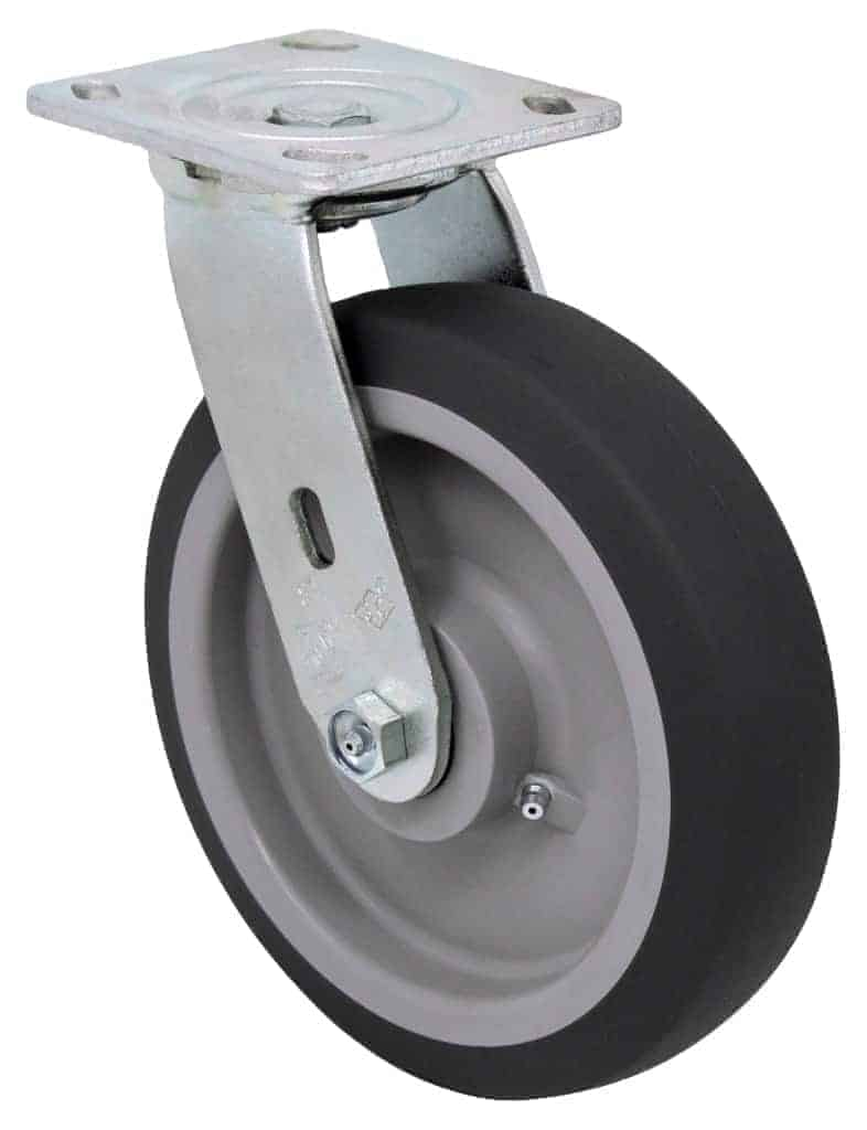 "Swivel Thermo-Plastic Rubber Caster with 4"" x 4-1/2"" Top Plate"