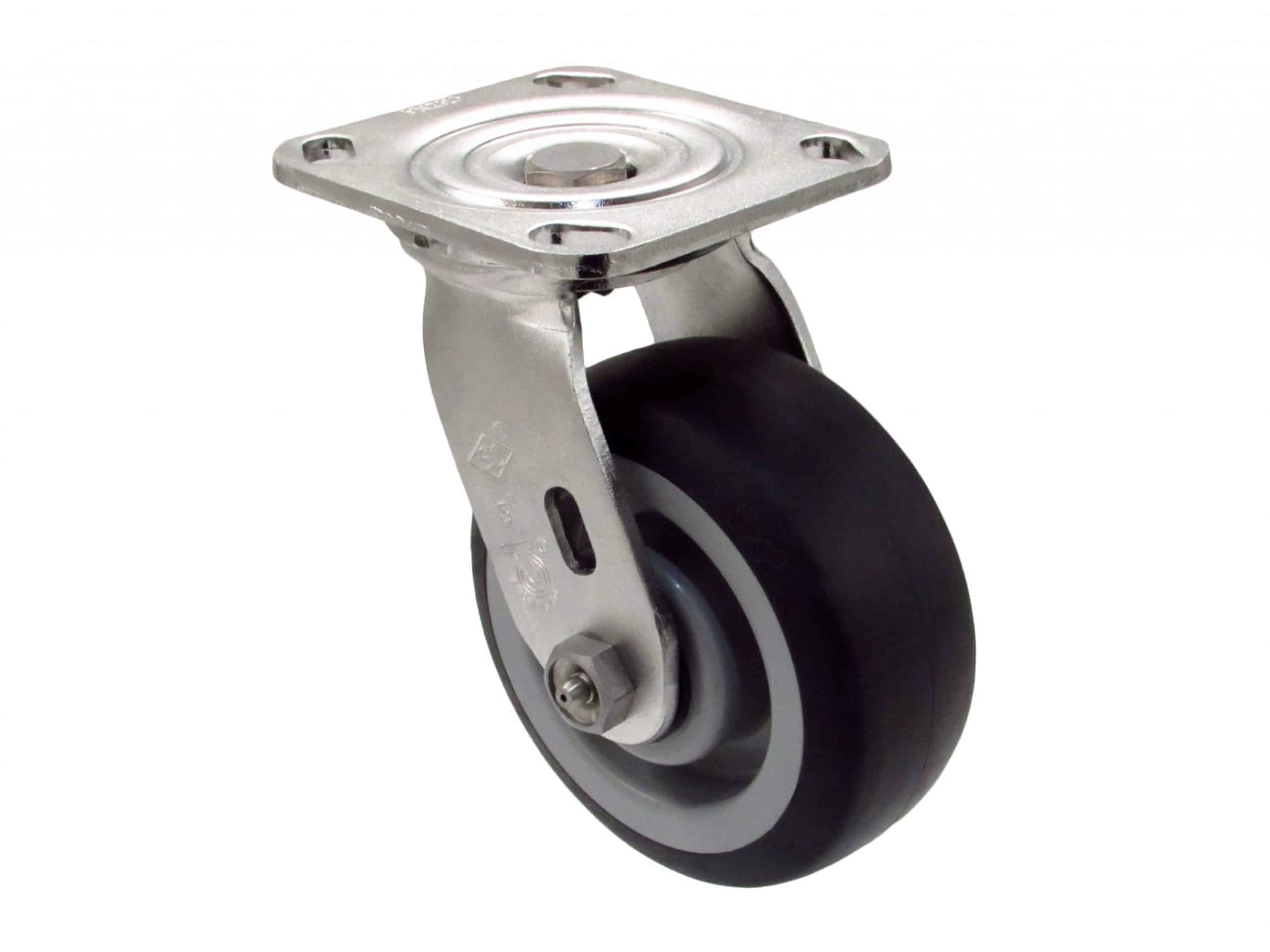 4″ Stainless Swivel Non Marking Top Plate 4 x 4-1/2