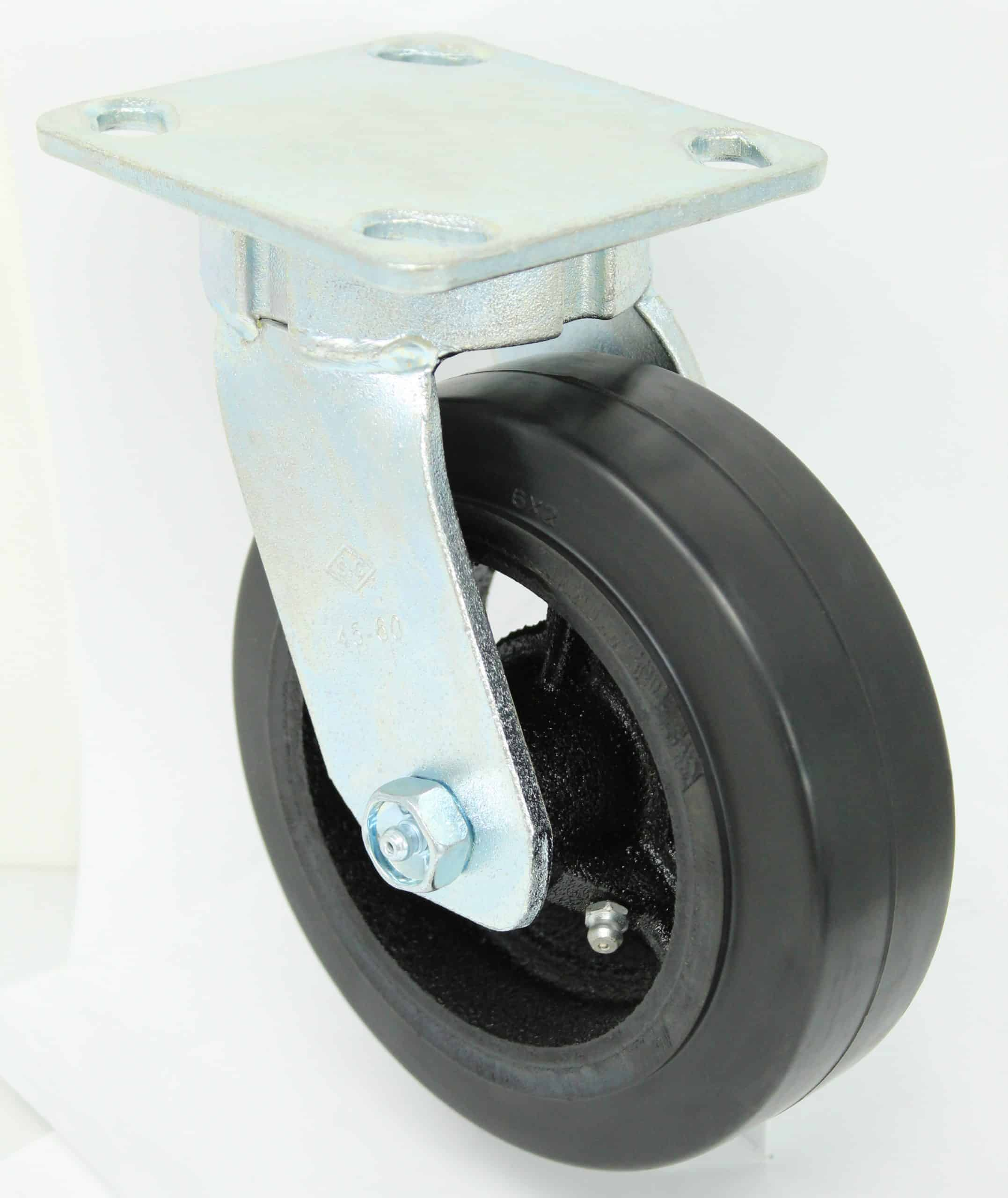 8″ Swivel Rubber Steel Top Plate 4 x 4-1/2