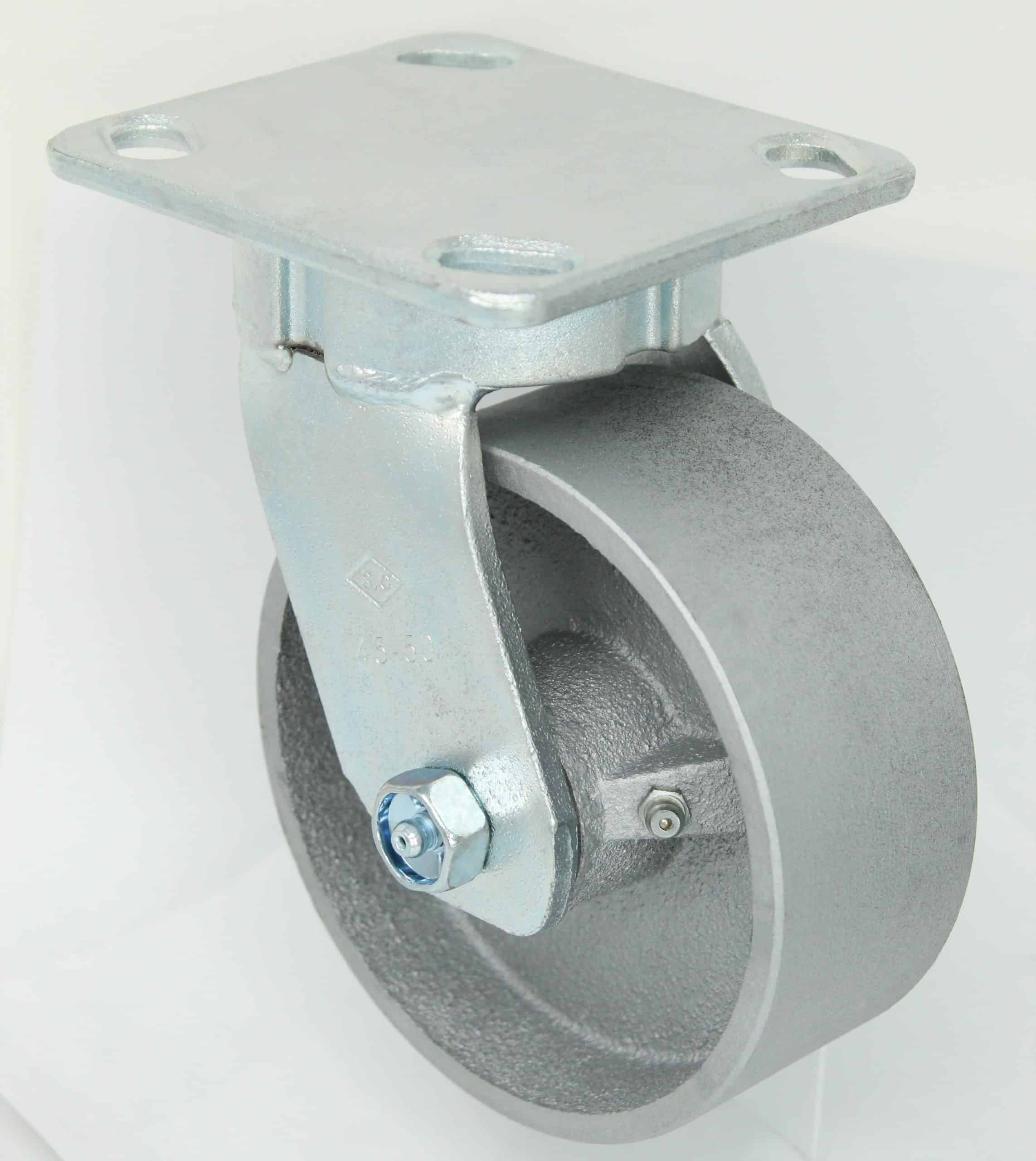 Swivel Kingpinless Steel Caster 4 x 4-1/2 Top Plate