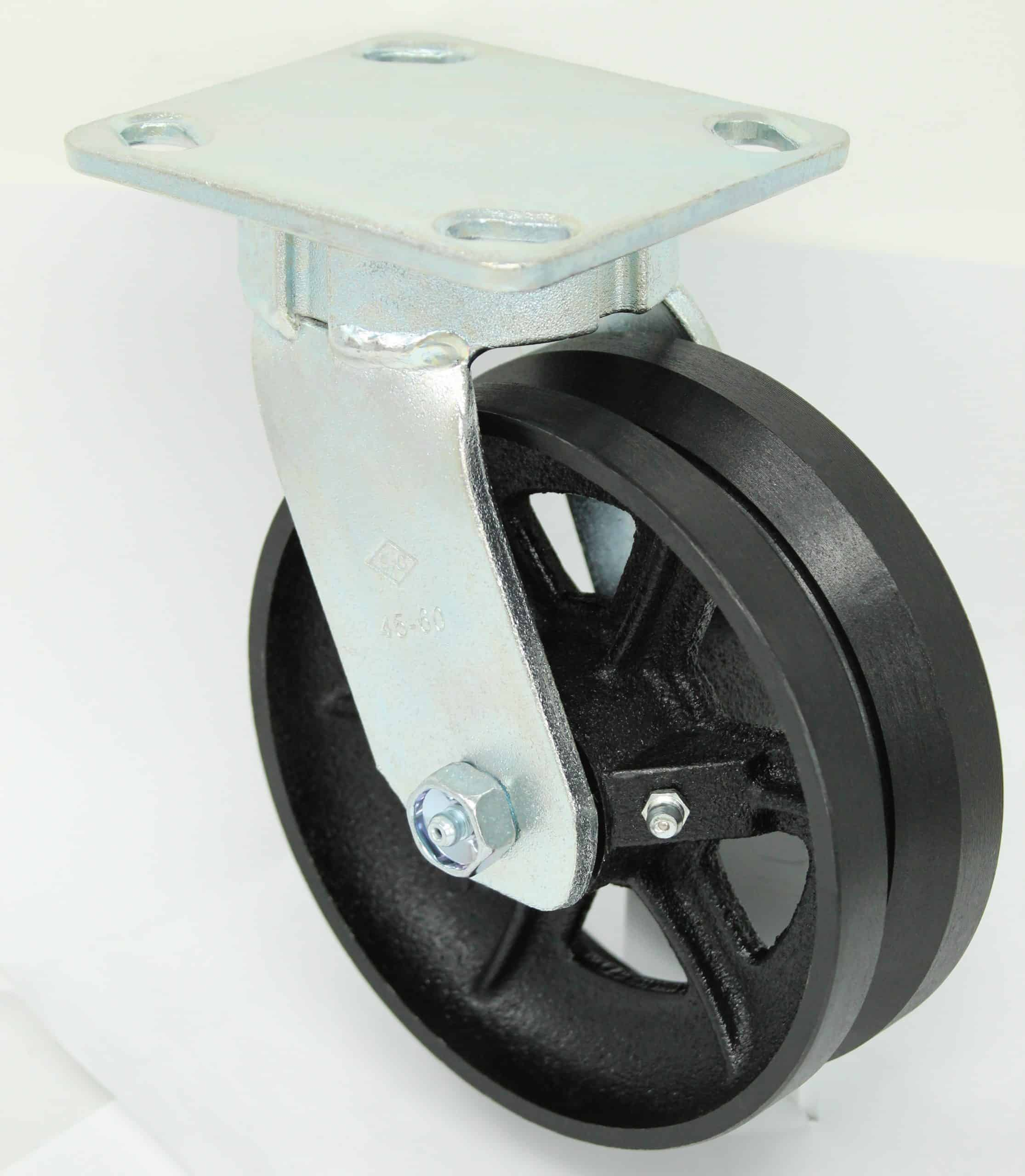 Swivel Kingpinless V-Groove Caster 4 x 4-1/2 Top Plate
