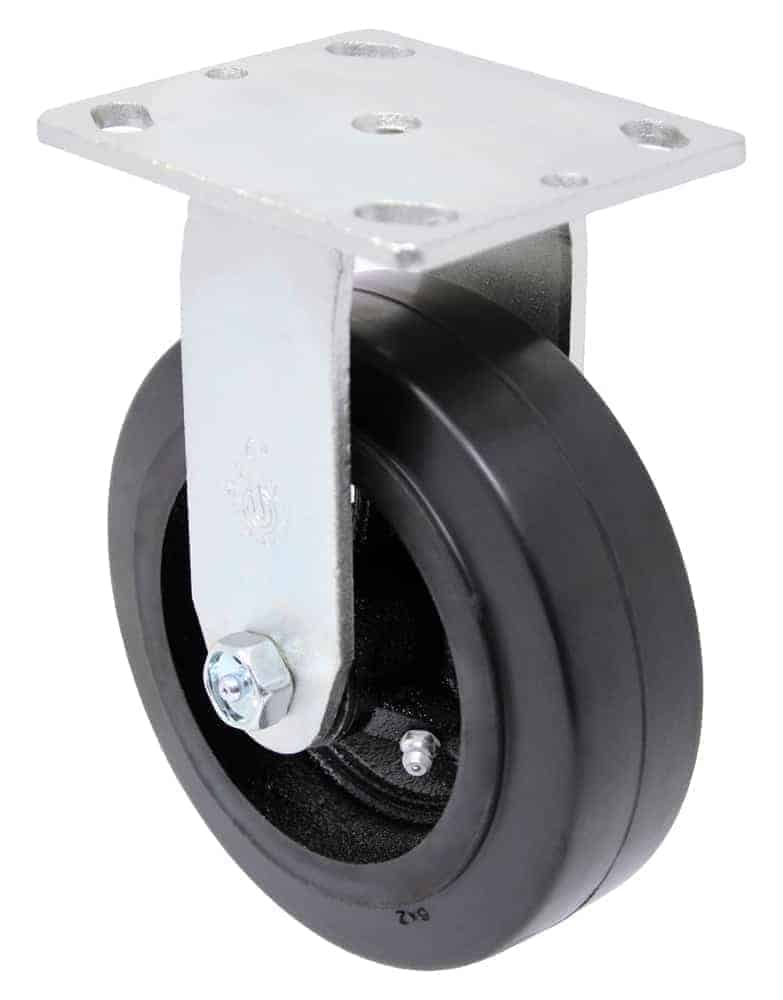 """Rigid Mold on Rubber Caster with 4"""" x 4-1/2"""" Top Plate"""