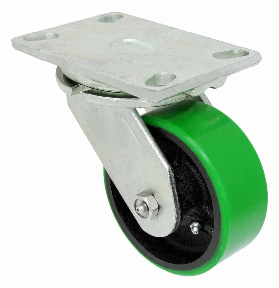 Swivel Polyurethane Steel Caster 4-1/2 x 6-1/4 Top Plate