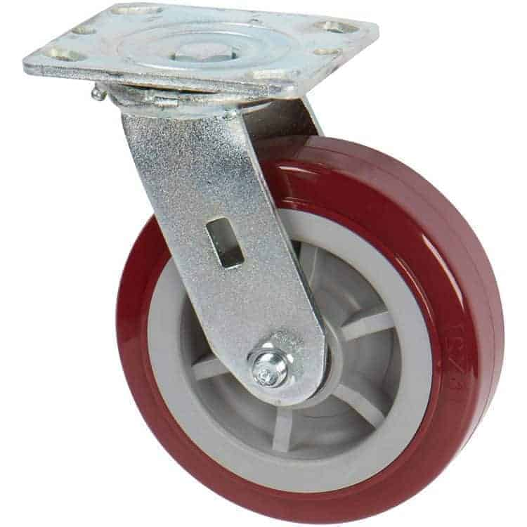Swivel Polyurethane on Polyolefin Caster With 4 x 4-1/2 Top Plate