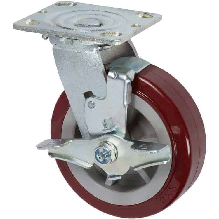 5″ Swivel Poly/Poly With Brake Top Plate 4″ x 4-1/2″