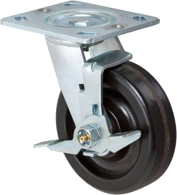 6″ Swivel Phenolic With Brake Top Plate 4″ x 4-1/2″