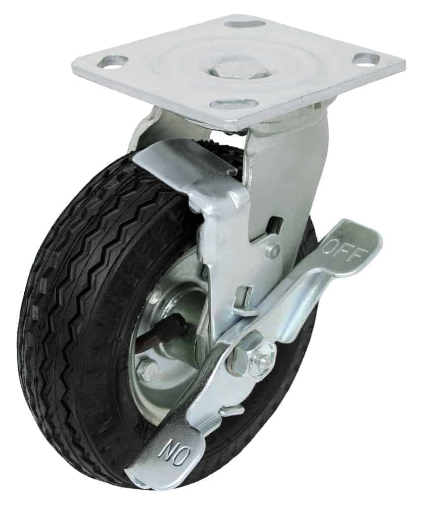 6″ Swivel Pneumatic with Brake Top Plate 4 x 4-1/2