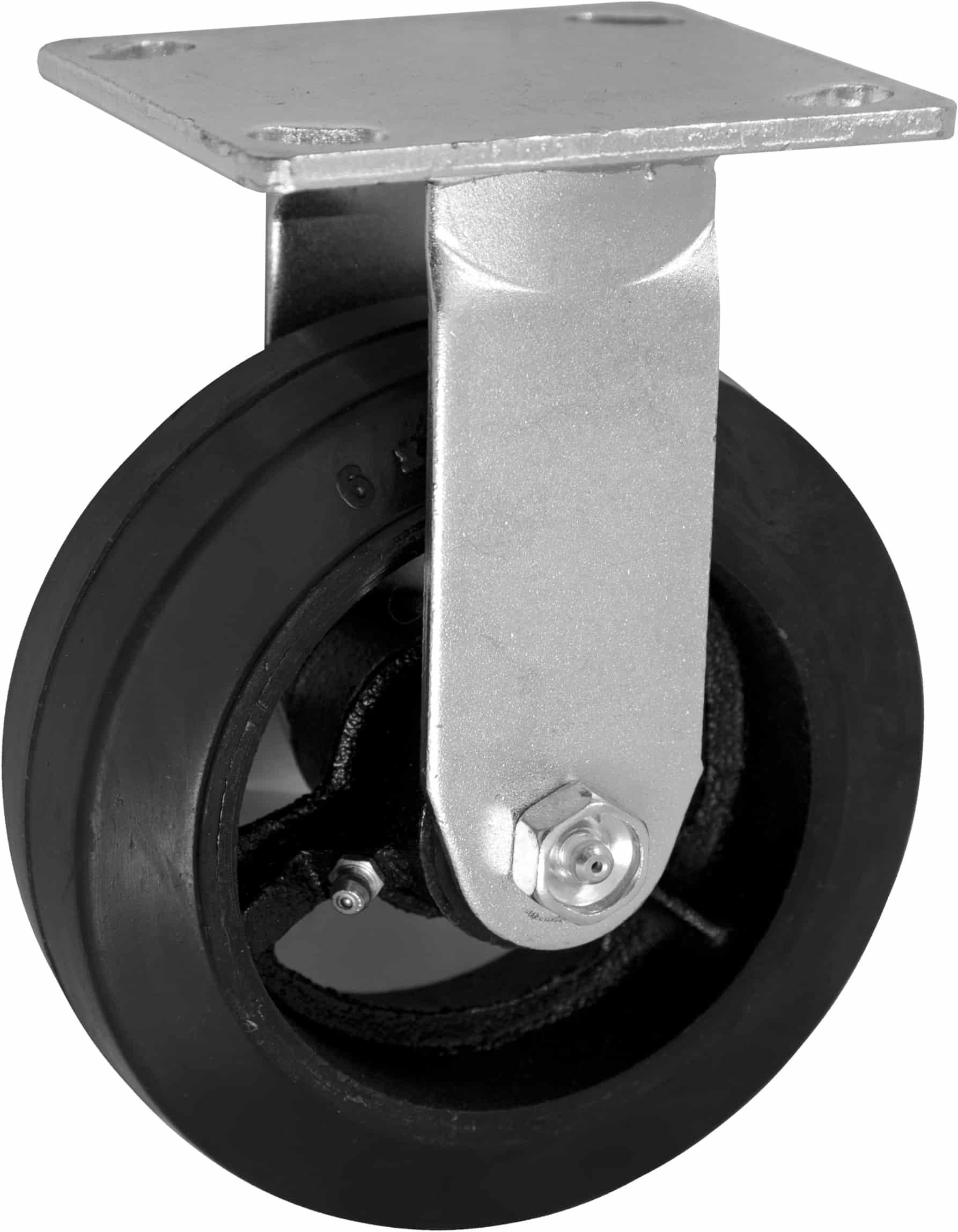 "Rigid Mold on Rubber Caster with 4"" x 4-1/2"" Top Plate"
