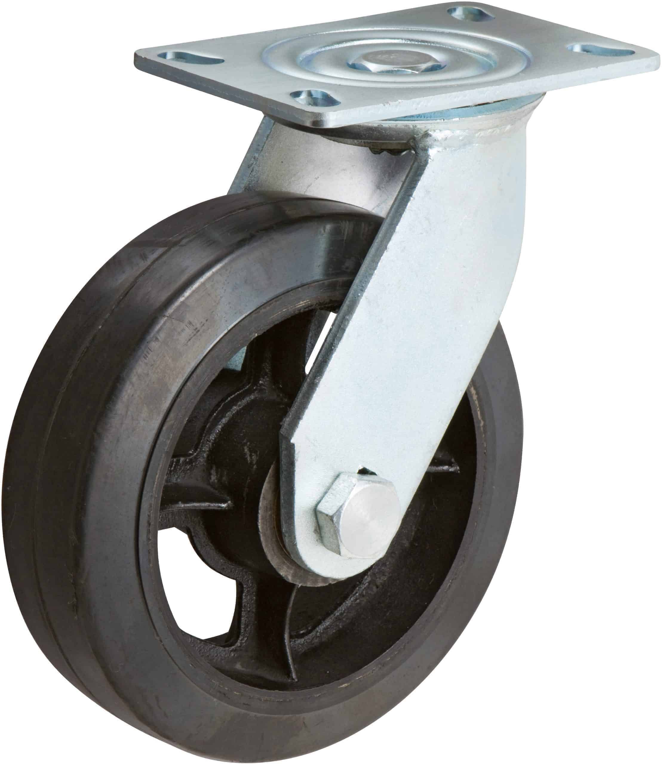 6″ Swivel Rubber Steel with Brake 4″ x 4-1/2″ Top Plate