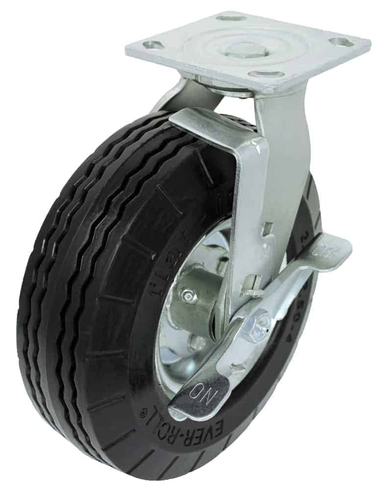 8″ Swivel With Brake Ever-Roll Caster 4 x 4-1/2 Top Plate