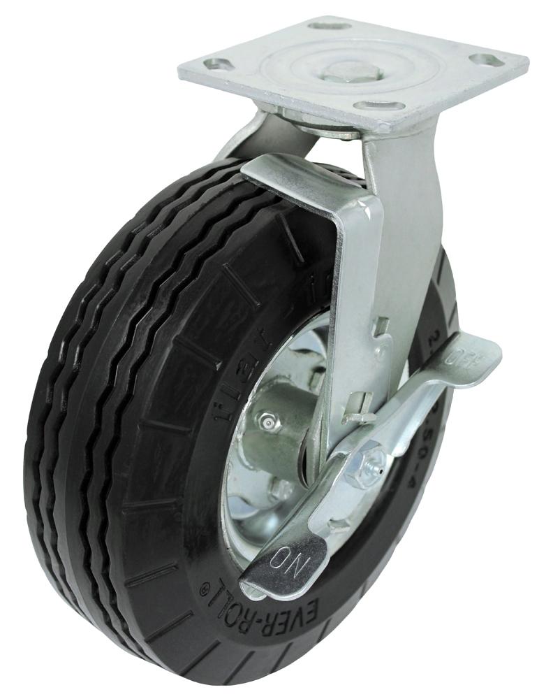 Swivel with Brake Polyurethane foam Flat Free Caster 4 x 4-1/2 Top Plate