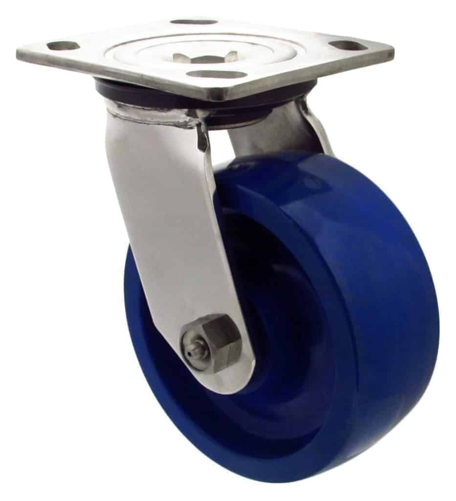 "6"" Stainless Swivel Blue Solid Polyurethane with 4 x 4 1/2 Top Plate"