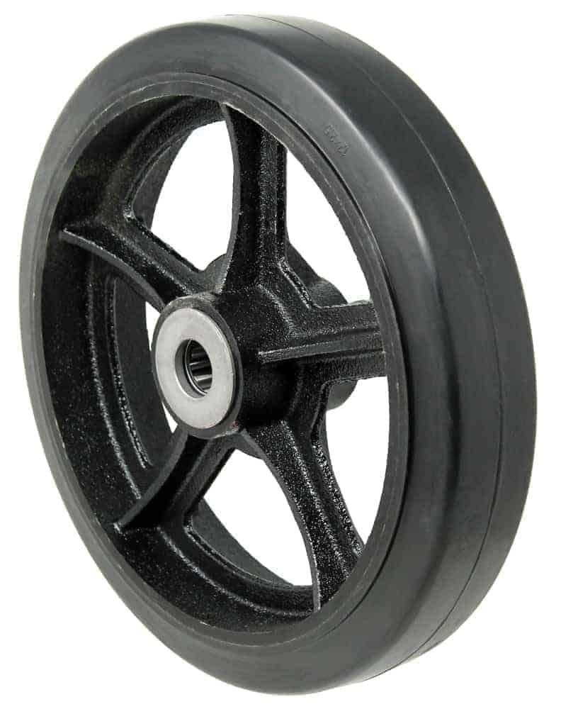 6″ Rubber Steel Wheel 3/4″ Roller Bearing 2-3/16″ Hub Length 550 Lbs. Capacity