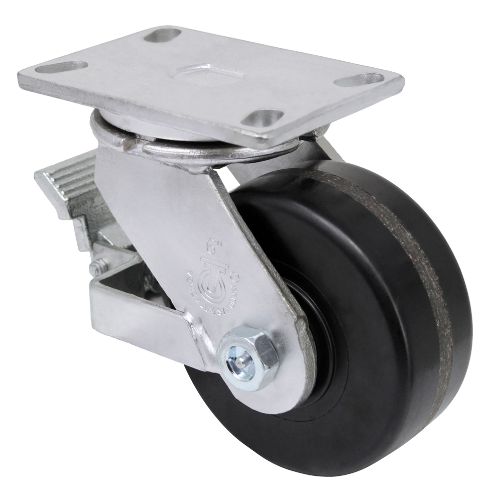 6″ Swivel Phenolic Top Plate 4-1/2″ x 6-1/4″ With Brake